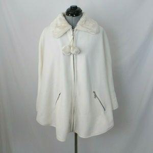 Le Moda Cape Poncho Fleece Ivory Faux Fur Collar